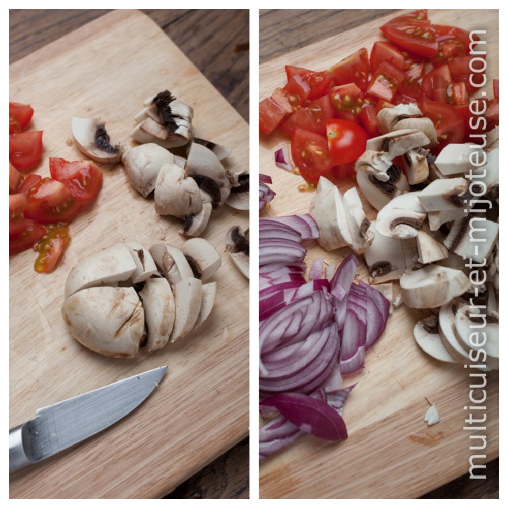 Découpez les légumes frais