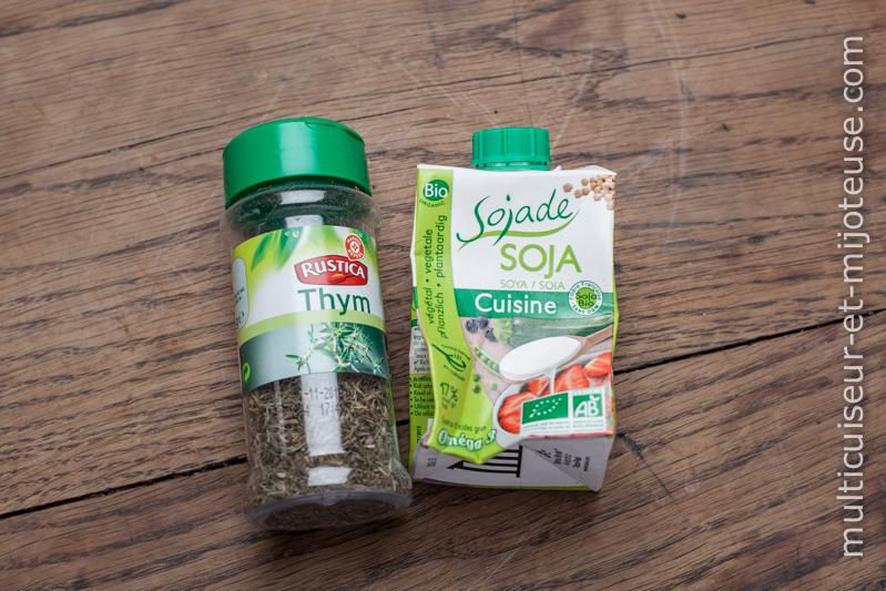 Thym et crème fraiche (ou soja cuisine)