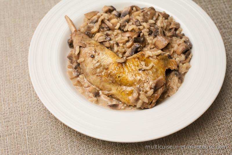 Cuisses de pintade aux champignons et riz sauce au porto - Comment cuisiner des cuisses de pintade ...